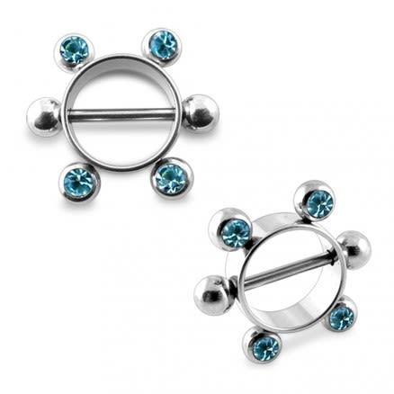 14G Aqua Jeweled Surgical Steel Nipple Rounder Ring