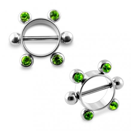 Peridot Gem Surgical Steel Nipple Rounder