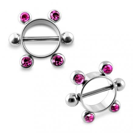 Pink Gem Surgical Steel Nipple Rounder