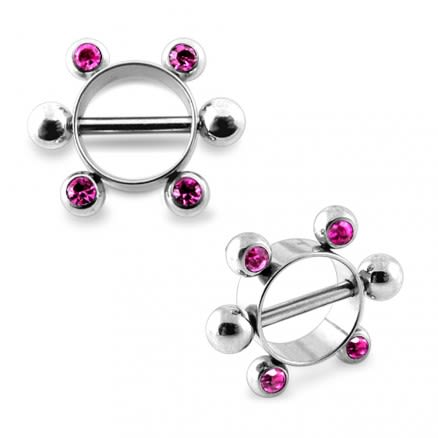 Pink Jeweled Surgical Steel Nipple Rounder