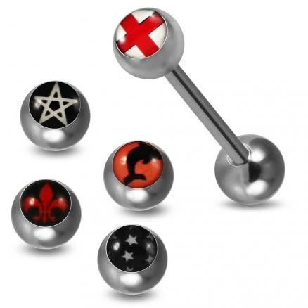 Tongue Barbell with 4 Free Interchange Different Country Flags Logo Ball
