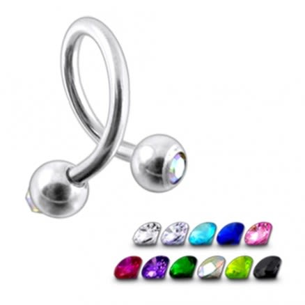 316L Steel Twisted Barbell with Jeweled Ball