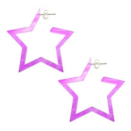 24mm Amethyst UV 5 Star Ear Hoop