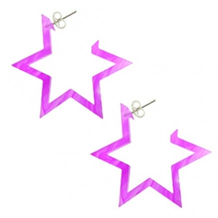28mm Amethyst UV 6 Star Ear Hoop