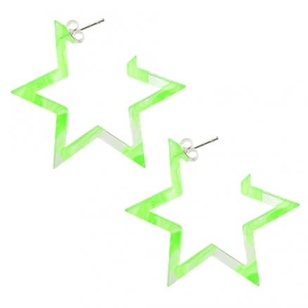 28mm Peridot UV 6 Star Ear Hoop