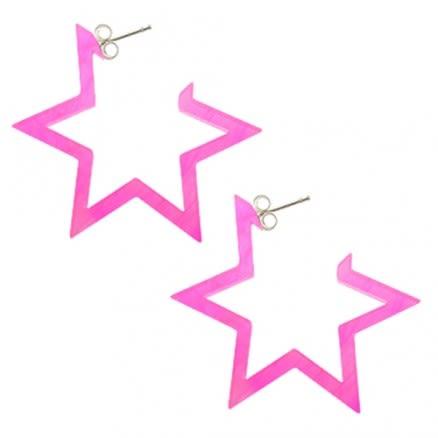 28mm Pink UV 6 Star Ear Hoop