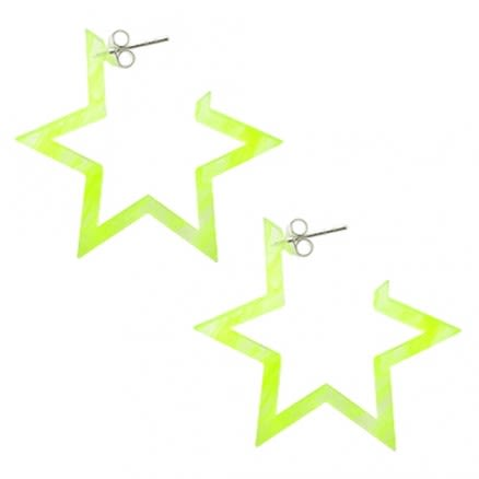 28mm Yellow UV 6 Star Ear Hoop