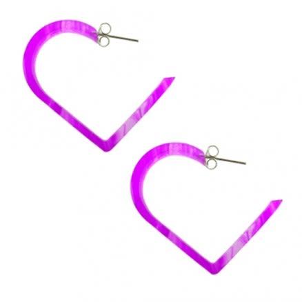 30mm Amethyst UV Heart Ear Hoop