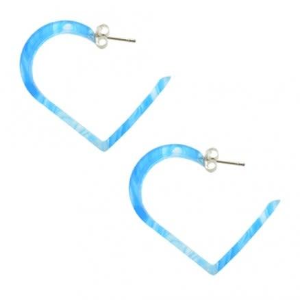 30mm Aqua UV Heart Ear Hoop