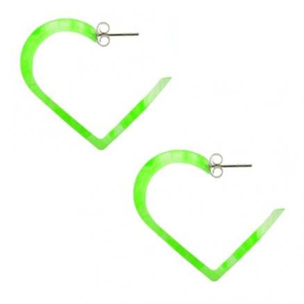 30mm Peridot UV Heart Ear Hoop