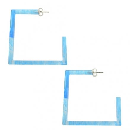 32mm UV React Square Ear Hoop With 925 Sterling Silver