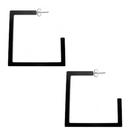 32mm Black Color UV React Square Ear Hoop