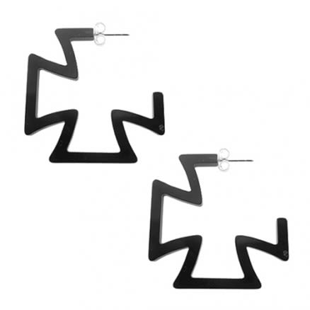 28mm Black UV Cross Ear Hoop