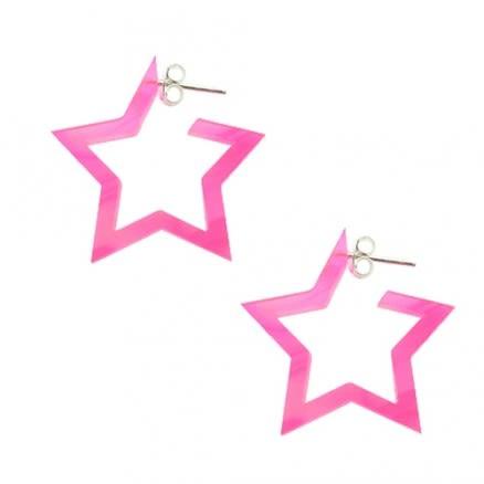 Pink UV React Star Ear Hoop