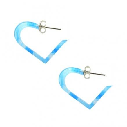 Aqua UV 18mm Heart Ear Hoop