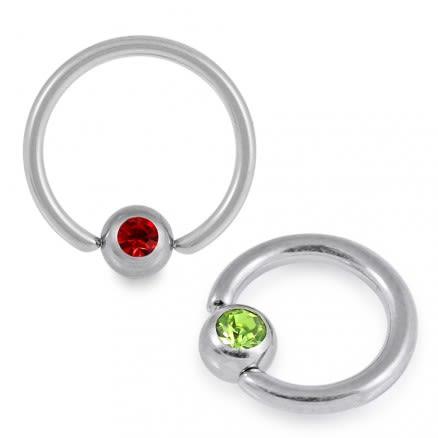 G23 Grade Titanium Jeweled BCR ring