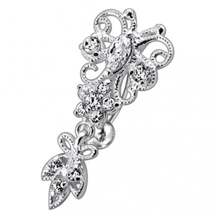 Jeweled Fancy Silver Dangling Belly Ring With SS Banana Bar Body Jewelry