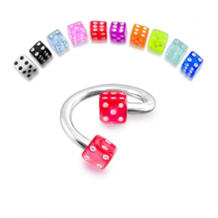 14g Spiral barbell with UV dice