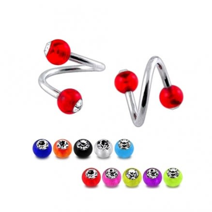 Twisted-Spiral Barbell with UV stone balls