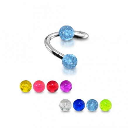 14g twisted barbell With glitter balls