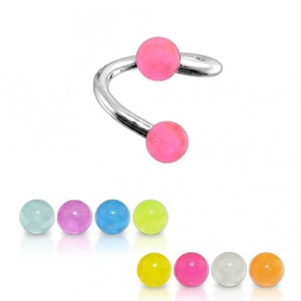 Twisted-Spiral Barbells with Pink Glow Balls TWIS092
