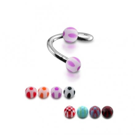 316 Surgical Steel Twisted Pink And White Eyebrow Barbell