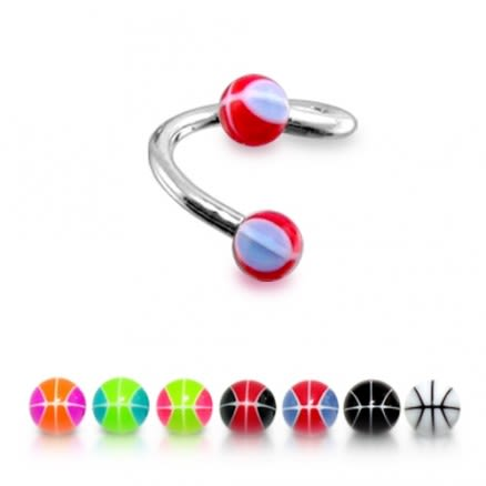 316 Surgical Steel Twisted Barbell Red And White Mix Eyebrow Ring body Jewelry