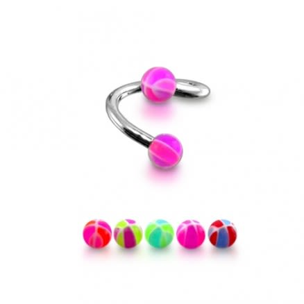 Pink UV Balls With 316 Surgical Steel Twisted Barbell Lip Eyebrow Ring