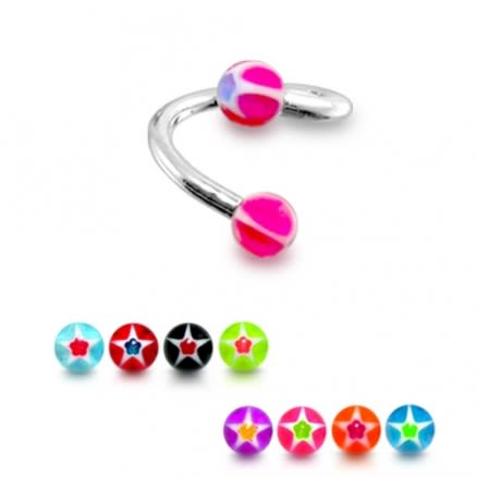 316 Surgical Steel Twisted Barbell Pink UV Acrylic Star Logo Ball
