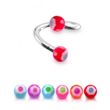 316 Surgical Steel Twisted Barbell With Red UV Logo Mix Ball