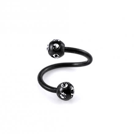 Blackline EyeBrow Twisted Barbell with Jeweled Balls