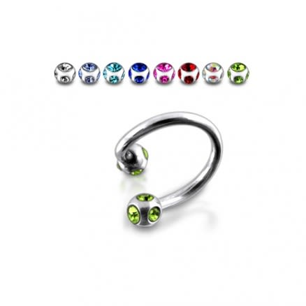 Sugical steel Twisted Barbell With Multi Jeweled ball
