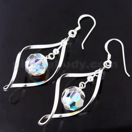 925 Sterling Silver Twisted Hook Earring with Sparkling Bead