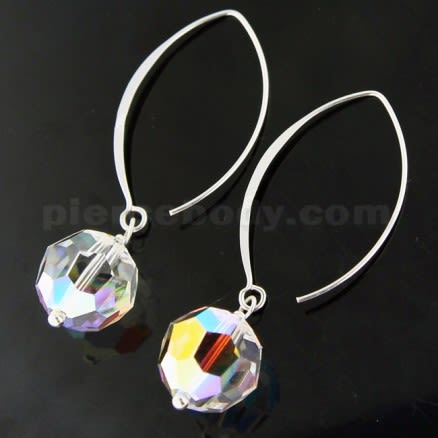 925 Sterling Silver Hook Earring with Sparkling Bead