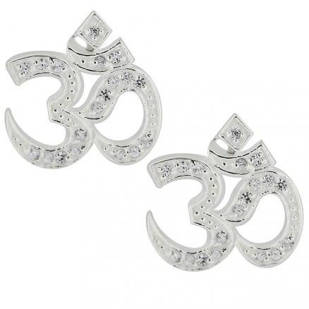 925 Sterling Silver Micro Setting Jeweled Ohm Earring Ear Stud