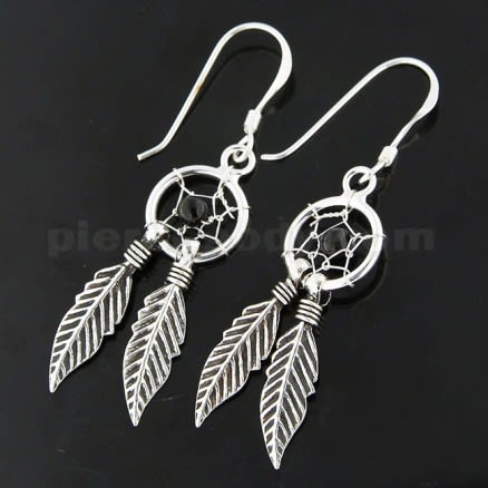 925 Sterling Silver Black Onyx Dream Catcher earring