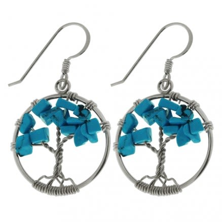 925 Sterling Silver Tree of Life Round Cut out earring