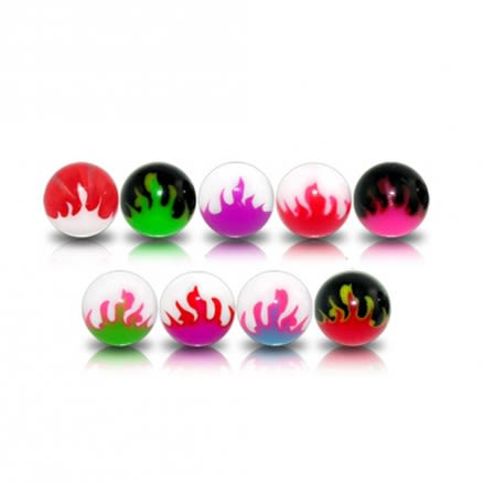 Assorted Color Flexible UV Fancy Flame Print Piercing Balls