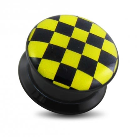 Black UV Internal Yellow Checker Logo With Screw Fit Ear Tunnel