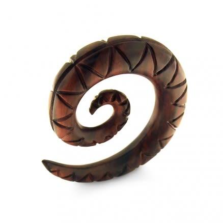 Organic Swirl Carved Dark Wood Spiral Ear Expander Gauges