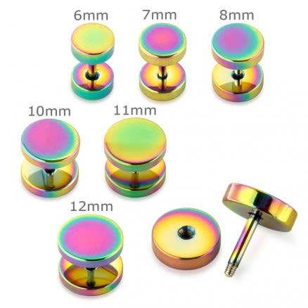 Rainbow Surgical Steel Fake Drum Ear Plug