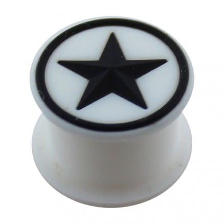 Embossed Black Star Silicone White Ear Plug