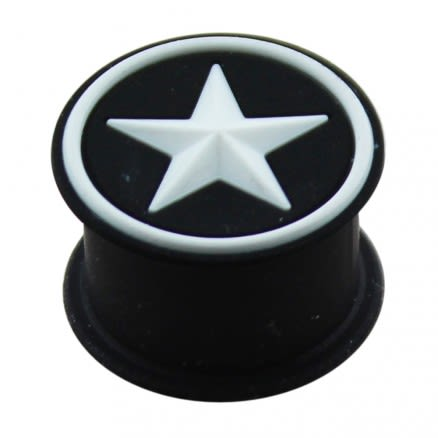 Embossed White Star Silicone Ear Plug