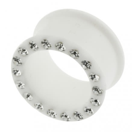 Multi Jeweled Milk White Silicone Ear Plug