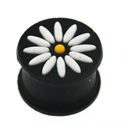 Embossed White Flower Black Silicone Ear Plug