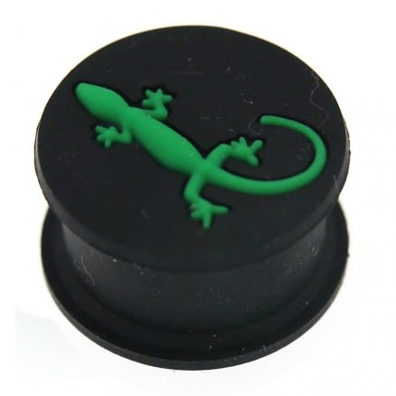 Embossed Green Gecko Black Silicone Ear Plug