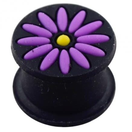 Embossed Purple Flower Color Changing Silicone Ear Plug