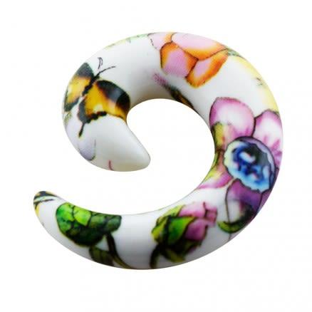 Colorful Flower UV Spiral Ear Stretcher
