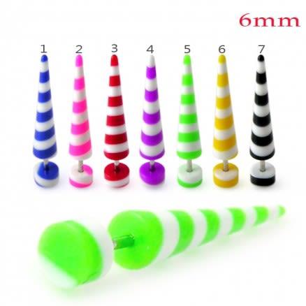 Colorful Stripes Straight Fake UV Ear Taper
