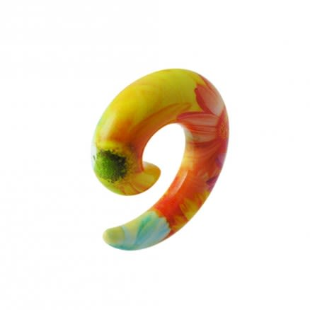 Colorful Fancy Flower Acrylic Spiral Ear Taper